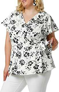 Agnes Orinda Plus Size Tops for Women Ruffle Neck Floral Print Bell Sleeve Wrap Tie Waist Boho Peplum Blouse
