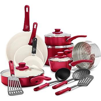 Greenlife Batería de cocina, de cerámica, antiadherente, agarre suave, Rojo, 16 piezas, 1