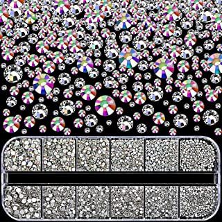 Nail Rhinestones 3360pcs, YGDZ Nail Gems Swarovski-Like Crystals AB Sparkling Glass Nail Stones with Storage Box for Nail Art Decorations, 280pcs Each (SS3 4 5 6 8 10)