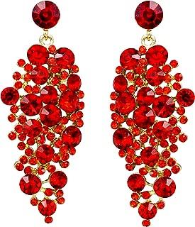 Iris Island Austrian Crystal Rhinestone Sparkle Red Dangle Earrings for Proms Weddings Party, Gold Tone