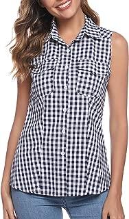 Abollria Women's Short Sleeve Button Down Plaid Flannel Shirt