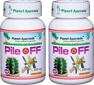 Pile-Off - 2 Bottles (Each 60 Capsules, 650mg) - Planet Ayurveda (in USA)