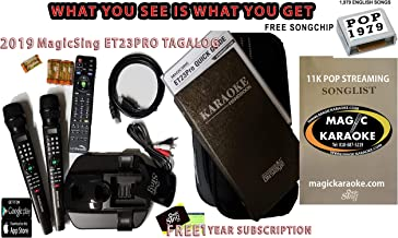 2019 ET23PRO WIFI Magic Sing Karaoke Two Wireless Mics BUNDLED WITH POP 1979 SONGCHIP +1 Year Subscription for Tagalog Hindi Spanish Russian Vietnamese Japanese Korean songs & more