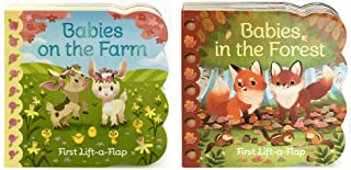 2 Pack Chunky Lift-a-Flap Board Books: Babies in the Forest/Babies On the Farm Lift-a-Flap Books (Babies Love)
