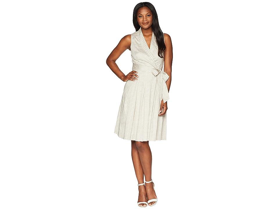 Anne Klein Notch Collar Wrap w/ Full Skirt Printed Cotton Satten (Oyster Shell/White) Women