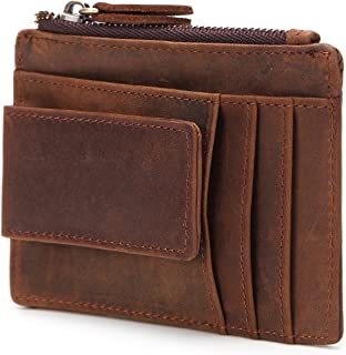 Leather Bag Mens Leather Card Case Card Holder Leather Wallet Crazy Horse Leather Multifunction Coin Purse High Capacity (Color : Brown, Size : S)