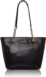 Calvin Klein womens Calvin Klein Hayden Saffiano Leather East/West Top Zip Chain Tote