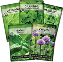 Sow Right Seeds - Herb Garden Seed Collection - Basil, Chives, Cilantro, Parsley, and Oregano Seeds for Planting; 5 Indivi...