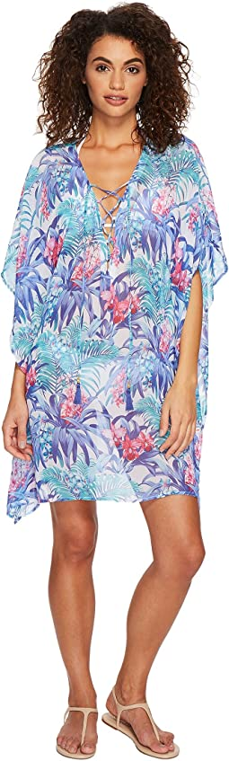 Majorelle Jardin Lace-Up Tunic Cover-Up