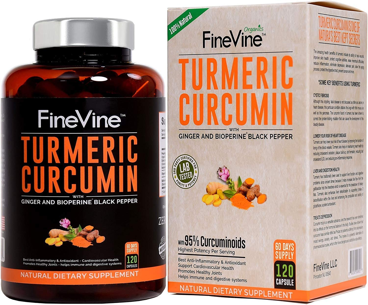 High quality new Turmeric Curcumin with BioPerine Max 80% OFF Black - Made Ginger and Pepper
