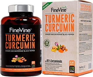 Turmeric Curcumin with BioPerine Black Pepper and Ginger - Made in USA - 120 Vegetarian Capsules for Advanced Absorption, ...