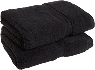 Superior 900 GSM Luxury Bathroom Towels, Made Long-Staple Combed Cotton, Set of 2 Hotel & Spa Quality Bath Towels - Black, 30
