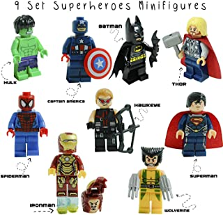Super Heroes Action Figure Toys Set - Building Hero Blocks Toy for Kids - Mini Figures Avengers Block Set Kit 9Pcs with Accessories - Perfect New Play Set Game 2019 for Children, Boys, Girls