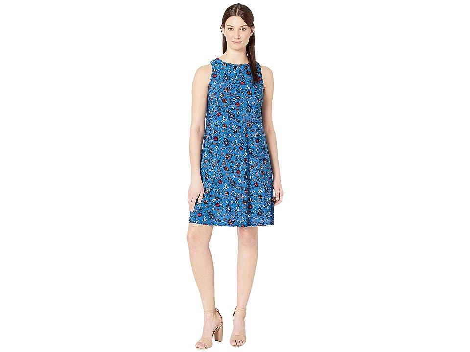Nine West Floral Quilt Ity Cap Sleeve Madelyn Dress (Cornflower Multi) Women