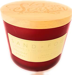 Sand And Fog Holiday Berry Double Wick Candle with Essential Oils 12 Oz