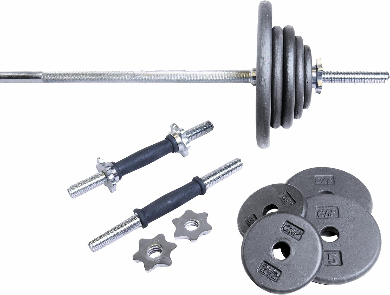 CAP Barbell Regular 110Pound Weight Set with 5Feet Threaded Standard Bar (Grey)