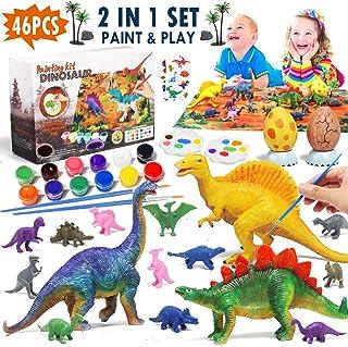 Lehoo Castle Juego de Dinosaurios para Niños, Figuras de Dinosaurio para Pintar, Dinosaurios Juguetes con Tapete, Kit Manualidades para Niños con Tatuajes Dinosaurio
