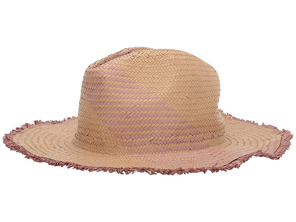 BCBGMAXAZRIA Color Block Woven Straw Panama Hat (Tan) Fedora Hats
