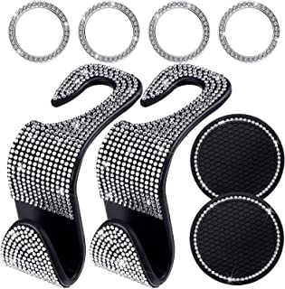 8 Pieces Bling Car Accessories, Rhinestone Car Seat Hangers Crystal Car Engine Ignition Button Rings Crystal Car Coasters for Men Women Car Interior Accessories
