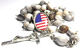 Made in Italy Rosary Blessed by Pope Francis First Communion Confirmation Natural Organic Seeds JOB's TEARS Vatican Rome Holy Father Beads Papal Cross Crucifix Patriotic American Flag Stars Stripes