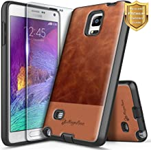 NageBee Case for Samsung Galaxy Note 4 with Tempered Glass Screen Protector, Premium [Cowhide Leather] Snap-On Dual Layer Hybrid Shockproof Defender Rugged Durable Phone Case -Brown