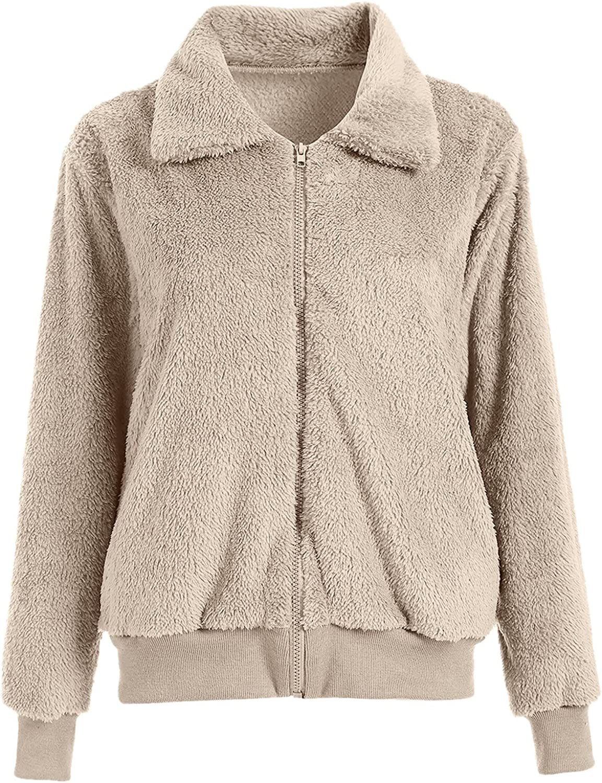 Christmas Long Sleeve Fuzzy Fleece Jacket for Women,Lapel Zip Up Faux Shearling Shaggy Coat Jacket Soft Warm Jacket Coat