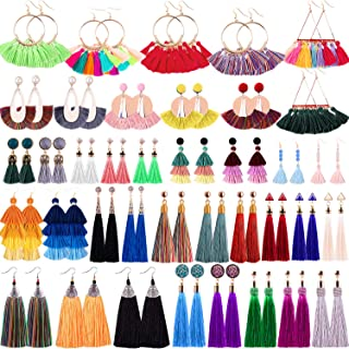 38 Pairs Tassel Earrings Colorful Long Layered Tassel Earrings Dangling Thread Ball Earring Hoop Fringe Bohemian Tiered Statement Earrings for Women Girls