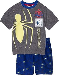 Spiderman Juego de pijama de manga corta para niños 100% algodón que brilla en la oscuridad de 2 a 8 años