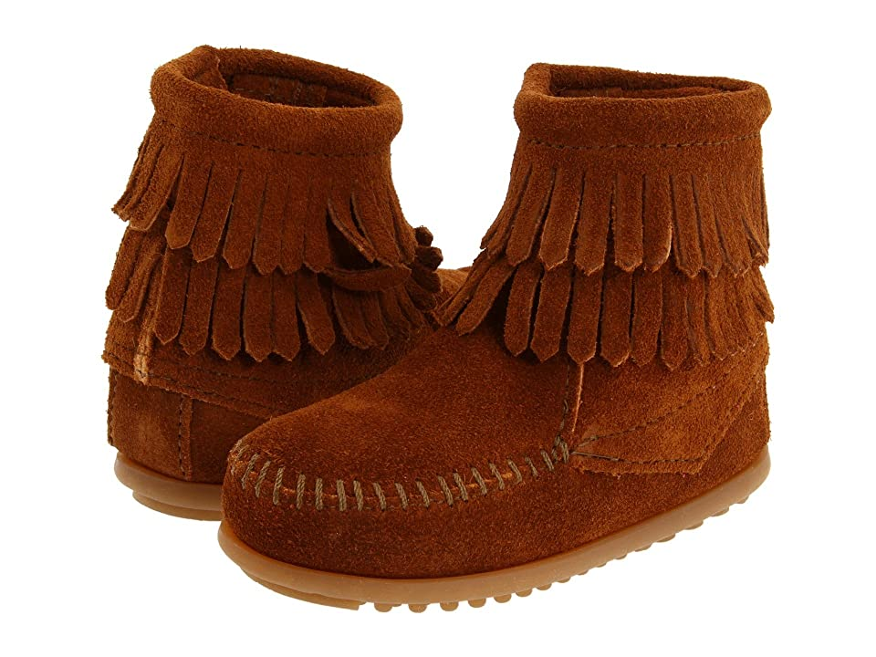 Minnetonka Kids Side Zip Double Fringe (Toddler/Little Kid/Big Kid) (Brown Suede) Girls Shoes