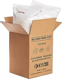 Kylvo Relleno para Puff (120 litros) - Bolitas de poliestireno expandido de Alta recuperación