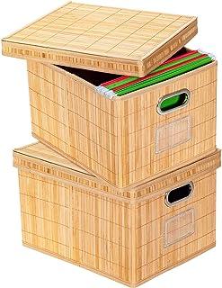 COSTWAY Lot de 2 Boites de Rangement en Bambou Pliable avec Couvercle et Poignées Pliable, Paniers de Rangement pour Vêtem...