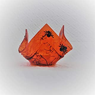 Handmade Orange and Black Halloween Spider Votive Holder