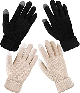 2 Pairs Women's Winter Touch Screen Gloves Warm Fleece Lined Knit Gloves Elastic Cuff Winter Texting Gloves