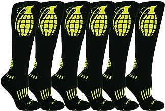 MOXY Socks THE Ultimate Grenade Black and Yellow Knee-High Fitness Deadlift Socks 6-Pack