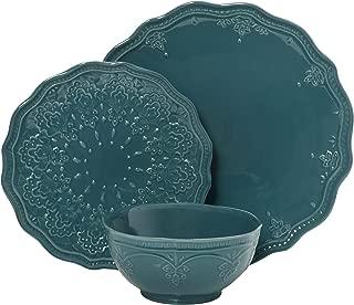 The Pioneer Woman Farmhouse Lace Dinnerware Set, 12-Piece, Ocean Teal