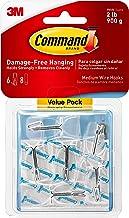 Command Clear Medium Wire Haken, Value Pack van 6 haken en 8 Clear Command Adhesive Strips, Geschikt voor artikelen tot 900 g