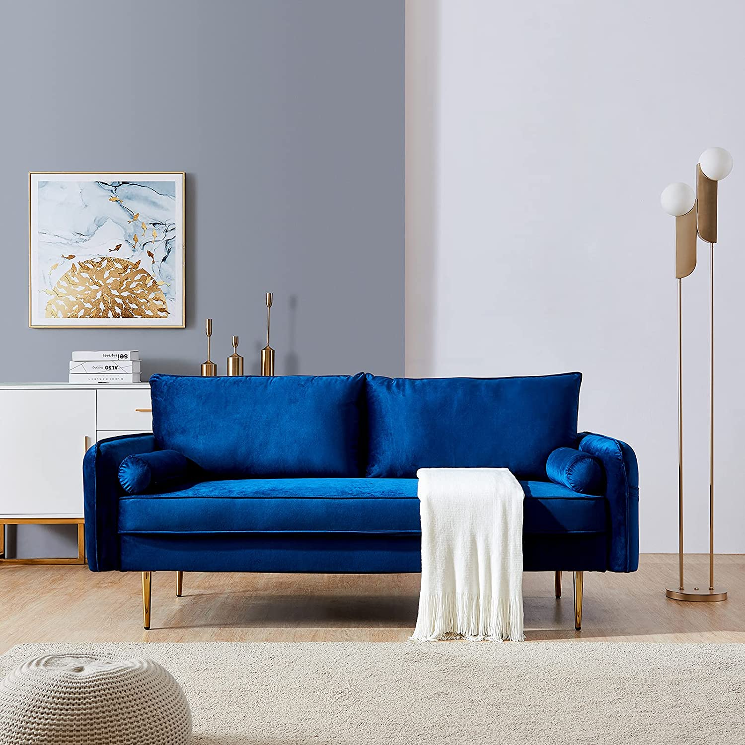 Velvet Couch with 2 Small Manufacturer direct delivery Pillows Twin Siz New products world's highest quality popular Loveseat Modern Sofa
