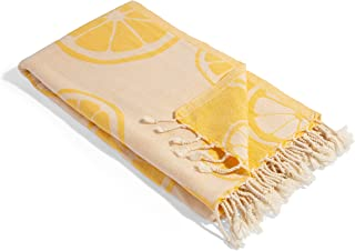 InfuseZen Citrus Reversible Turkish Towel - 100% Cotton Towel Lemon Pattern - Quick Dry Thin Peshtemal - Turkish Bath Towe...