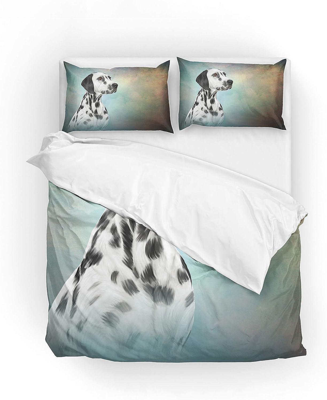 MyDaily Parure de lit avec Housse de Couette en Microfibre Polyester Motif Dalmacravaten, Super King(Housse De Couette 264x228cm,2x taies d'oreiller 51x92cm)
