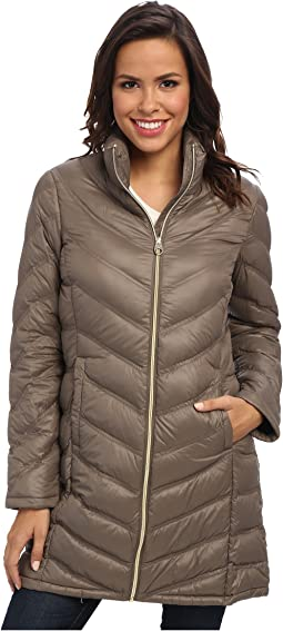 Zip Front Long Packable Down Jacket CW312100