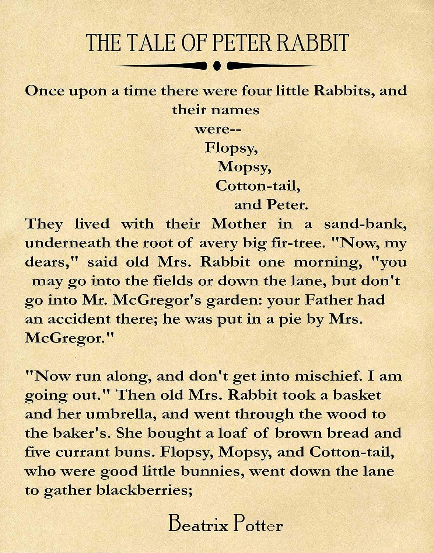 Nursery Book Poster Peter Rabbit Decor Beatrix Potter Book Beatrix Potter Decor Beatrix Potter Gift Wall Art Large Book Wall Art Literary (12 x 16, Parchment)