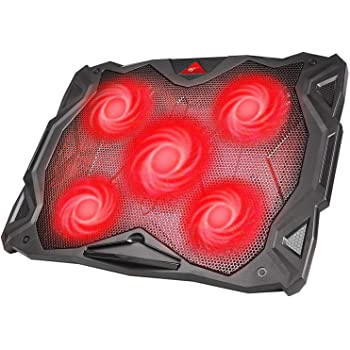 havit 5 Fans Laptop Cooling Pad for 14-17 Inch Laptop, Cooler Pad with LED Light, Dual USB 2.0 Ports, Adjustable Mount Stand (Black)