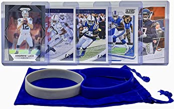 Indianapolis Colts Cards: Andrew Luck, Marlon Mack, T.Y. Hilton, Eric Ebron, Dontrelle Inman ASSORTED Football Trading Card and Wristbands Bundle