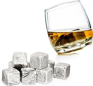 PRECORN 9er Set Whisky Steine aus natürlichem Speckstein Whiskysteine für Getränke on the rocks Eiswürfel Kühlsteine Whiskeysteine Geschenk-Ideen
