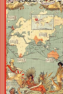 British Empire Journal: Great Britains Territories Colonies Map Atlas History 17th 18th Century Geography Art Gift Composi...