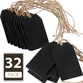32 Pieces Chalkboard Tags Hanging Wooden Mini Chalkboard Signs Wooden Chalkboard Tags, Hanging Chalkboard Labels, Ideal Price Tags,DIY Kids Crafts,Decorative Labels,Message Tags, Black,2 x 3.1 inches
