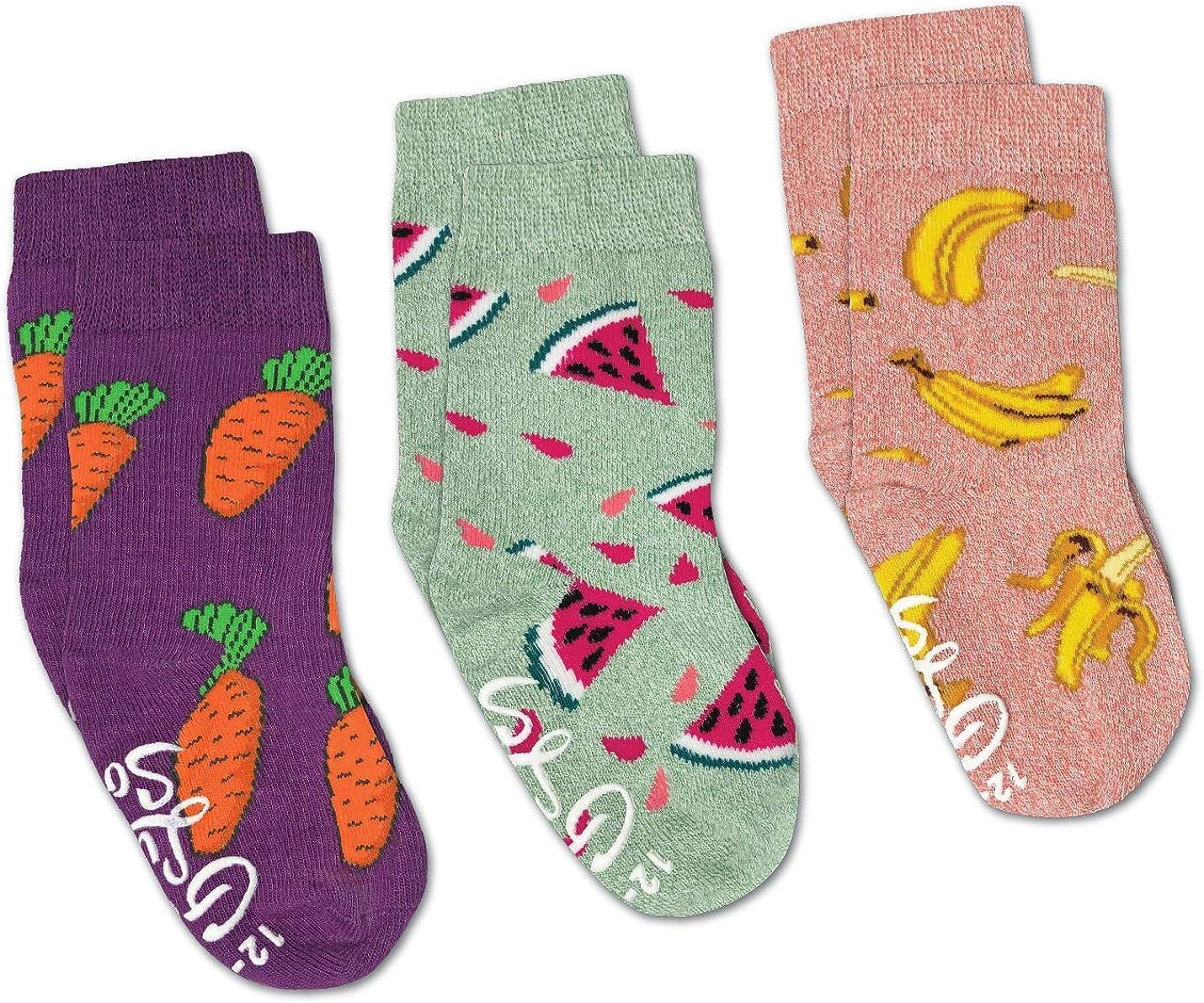 Bananas, Carrots and Watermelon Kids Toddler Socks, 3-Pack