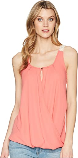 Wrangler Sleeveless Surplice Crochet Back Top