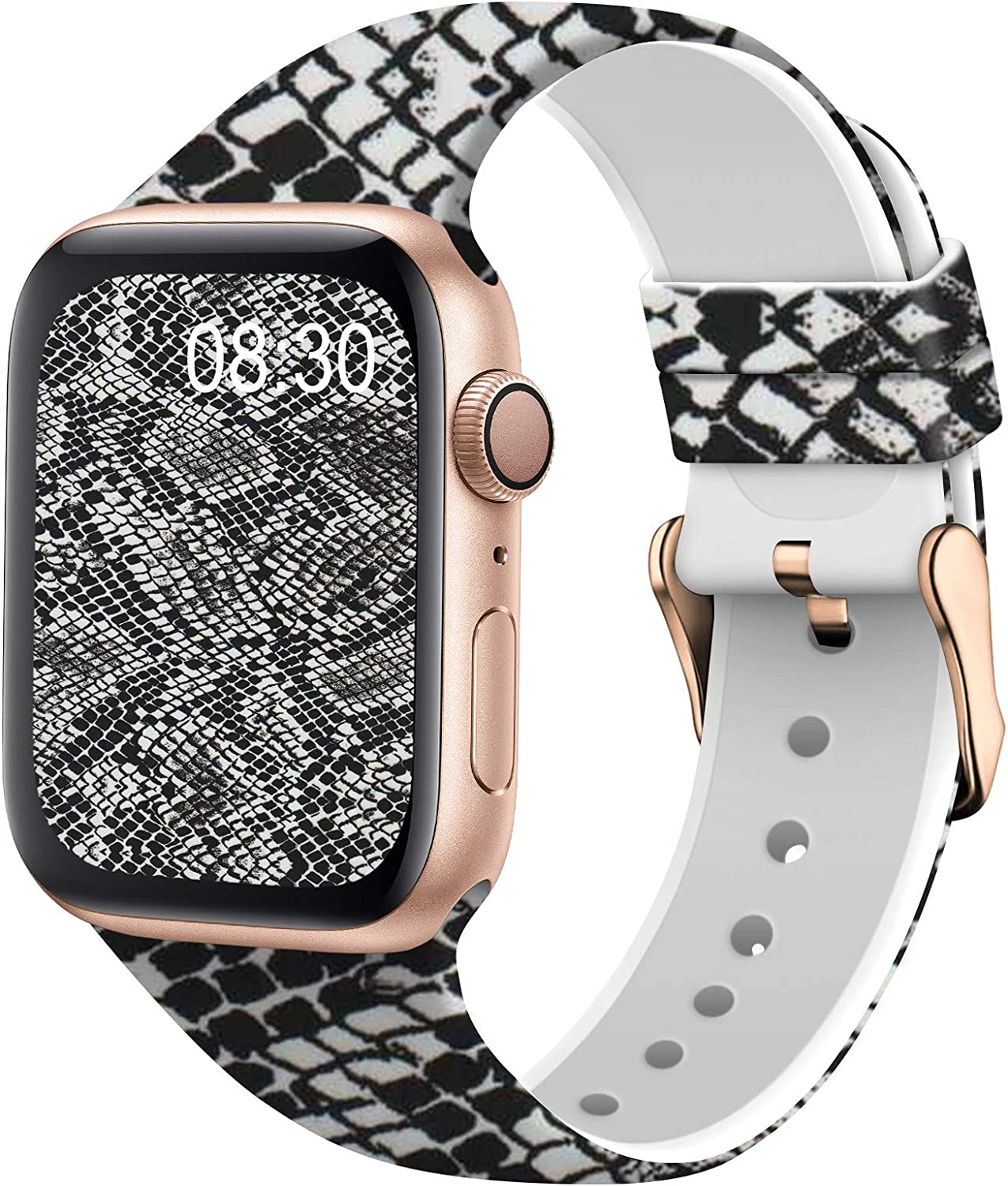 TSAAGAN Silicone Pattern Printed Band Compatible for Apple Watch Band 38mm 42mm 40mm 44mm, Floral Soft Sport Replacement Strap Wristband for iWatch Series 6/5/4/3/2/1 (Snake, 42mm/44mm)