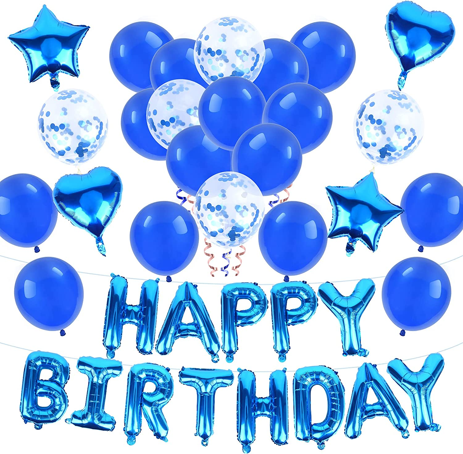 NINE CUBE Blue Birthday Party Selling Long Beach Mall 12 Hap inch Decorations Balloons